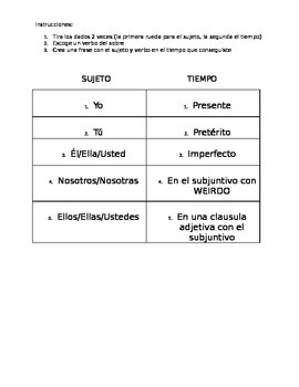 Reflexive Verb dice game (Various tenses)