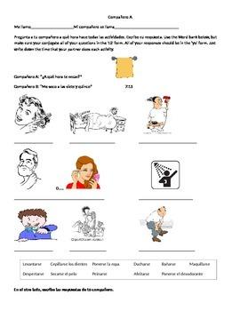 Reflexive Verbs Communicative Partner Activity Information Gap