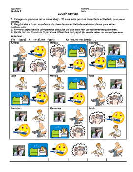 Reflexive Verbs Guess Who Game