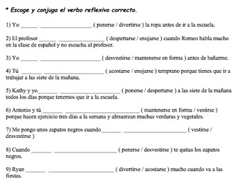 Reflexive Verbs Guided Notes packet