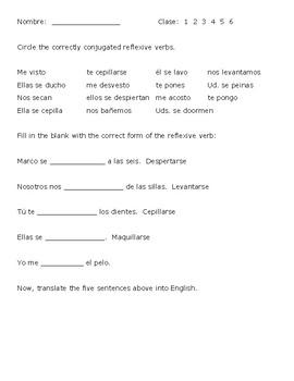 Reflexive Verbs Pretest/Entry Slip