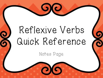 Reflexive Verbs - Quick Reference Guide