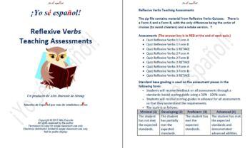 Reflexive Verbs Quizzes  Teaching Material