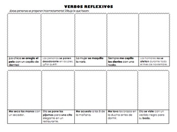 Reflexive Verbs Silly Drawings- Receptive Activity