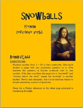 Reflexive Verbs Snowballs FRENCH
