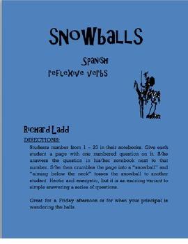 Reflexive Verbs Snowballs SPANISH