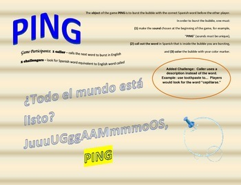Reflexive Verbs - Spanish 1 or 2 - Ping Game