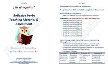 Reflexive Verbs Teaching Material & Assessment