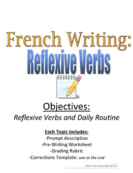 Reflexive Verbs Writing Prompt for French, Rubric and Pre-Writing Included