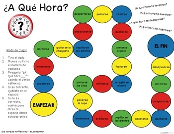 Spanish Reflexive Verbs, Present Tense, Conversation Games, Question Words