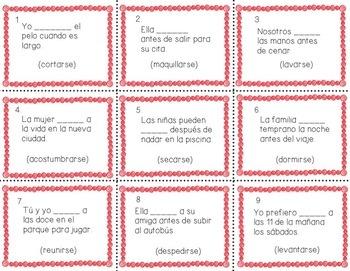 Spanish Reflexive Verbs, Present Tense, Conversation Games, Question Words