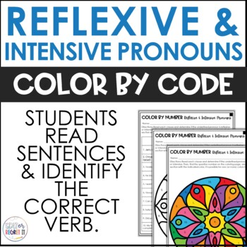 Reflexive and Intensive Pronouns Coloring Activity - Color by Number