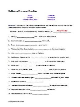 Reflexive and Intensive Pronouns/ Pronoun Worksheet by ...