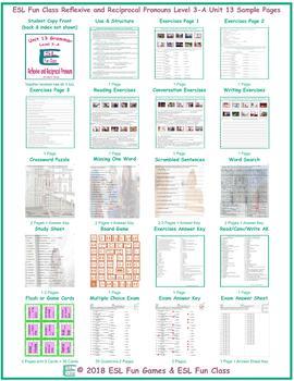 Reflexive and Reciprocal Pronouns Level 3-A Unit 13 Bundle