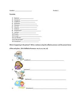 Reflexive verb Quiz/Worksheet