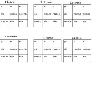 Reflexive verb game