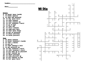 Reflexive vs. Non-Reflexive verbs crossword