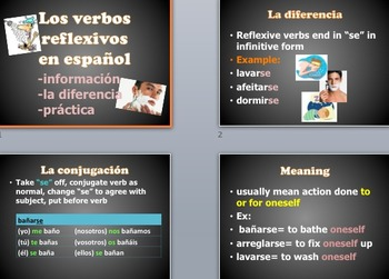 Reflexive vs Non-reflexive Verbs & Powerpoint Practice
