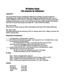 Spanish Reflexive Verb Project:  Mi Rutina Diaria