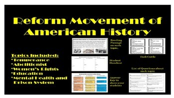 Reform Movement Activity Bundle
