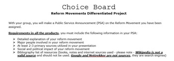 Reform Movement PSA Differentiated Choice Project