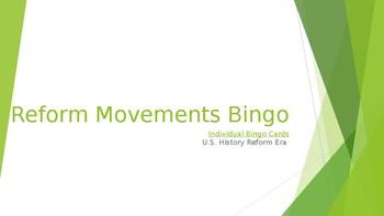 Reform Movements Bingo