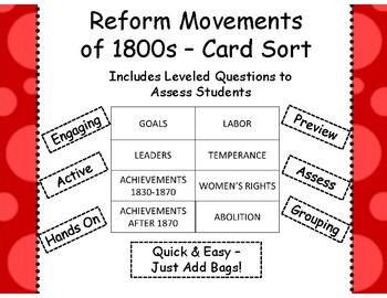 Reform Movements Card Sort