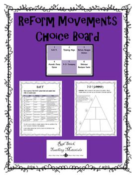 Reform Movements Choice Board