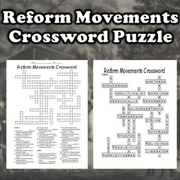 19th Century Reform Movements Crossword