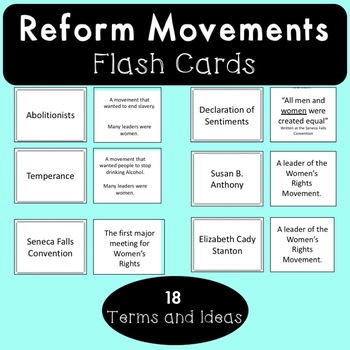 Reform Movements Flash Cards