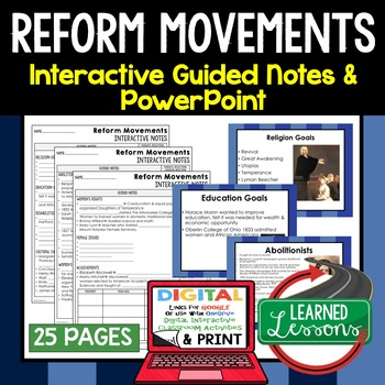 Reform Movements Interactive Guided Notes & PowerPoints American History Google
