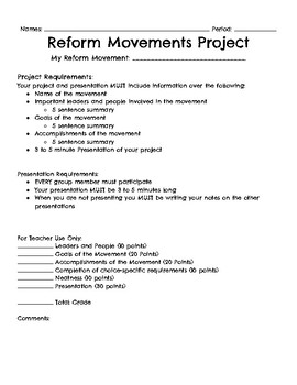 Reform Movements Project