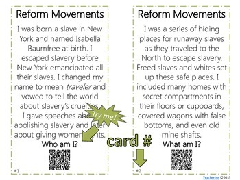 Abolition & Suffrage Reform Movements Task Cards with QR Codes