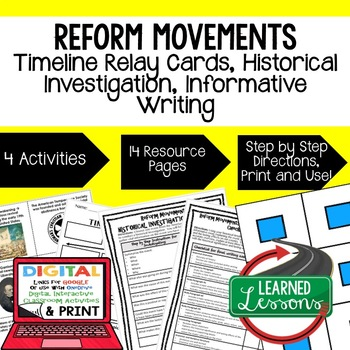 Reform Movements Timeline Relay & Writing Activity (Paper and Google)