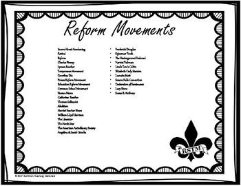 Reform MovementsWord Wall