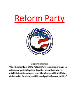 Reform Party Lesson - History, Facts Presidential Election Ross Perot
