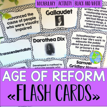 Reform, Suffrage, Abolition Flash Cards - Black and White