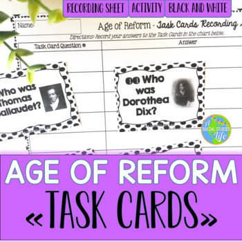 Age of Reform, Suffrage, Abolition Task Cards - Black and White