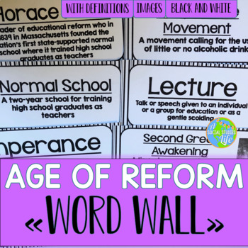 Age of Reform, Suffrage, Abolition Word Wall - Black and White