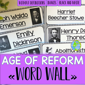 Age of Reform Word Wall without definitions - Black and White