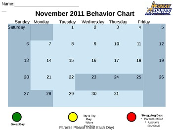 Reformat-able Behavior Chart Calendar