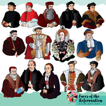Reformation Clip Art Set / Faces of the Reformation