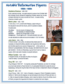 """The Reformation and Counter-Reformation - Notable Figures"" + Assessment"