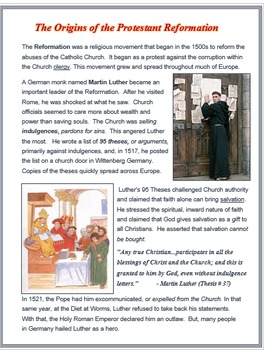 """Reformation Europe - """"The Origins of the Reformation"""" + Quiz"""