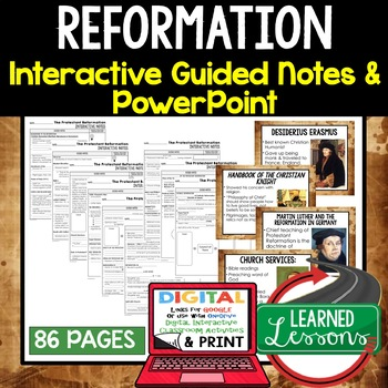 Reformation Guided Notes and PowerPoints, Interactive Notebooks, Google