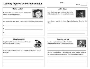 Reformation Key Figures Worksheet