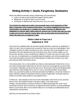 Reformation: Martin Luther's Letter to Leo X