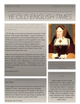 Reformation Newspaper Assignment