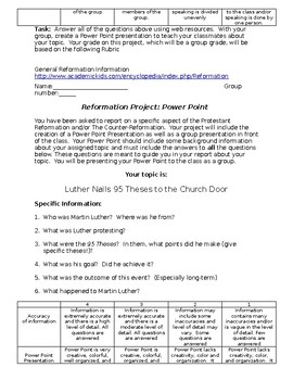 Reformation Student PowerPoint group project