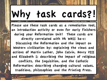Reformation - Task Cards for World History II